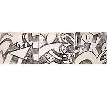 Panels of frenzy drawing Photographic Print