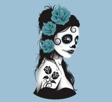 Teal Blue Day of the Dead Sugar Skull Girl Kids Tee