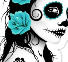 Teal Blue Day of the Dead Sugar Skull Girl Sticker