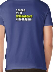 Snowboard T-Shirt - Snowboarder Sticker Decal Sleep Eat Play Mens V-Neck T-Shirt