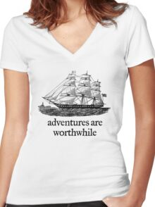 Adventure Are Worthwhile Women's Fitted V-Neck T-Shirt