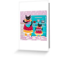 Making Cupcakes with Cats Greeting Card