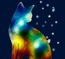 Galactic Space Cat On Milky Way, Cat, Space, Galaxy by boom-art