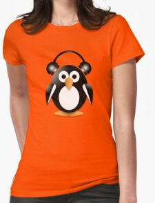 Penguin with headphones Womens Fitted T-Shirt
