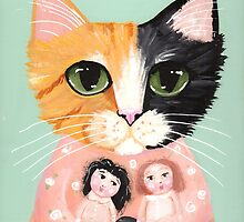Calico Cat with Dolls by Ryan Conners
