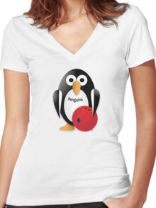 Penguin with bowling bow Women's Fitted V-Neck T-Shirt