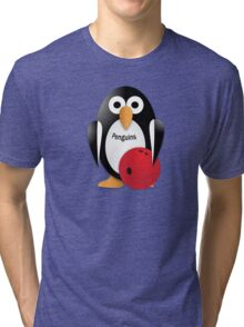 Penguin with bowling bow Tri-blend T-Shirt