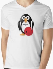 Penguin with bowling bow Mens V-Neck T-Shirt