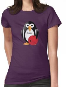 Penguin with bowling bow Womens Fitted T-Shirt