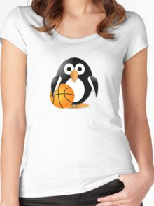 Penguin with a basketball ball Women's Fitted Scoop T-Shirt