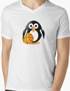 Penguin with a basketball ball Mens V-Neck T-Shirt