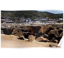 Lorne Beach - view over rocks Poster
