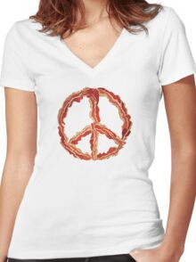 Peace of Bacon Women's Fitted V-Neck T-Shirt