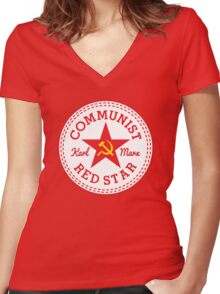 Commie Shoe Logo Women's Fitted V-Neck T-Shirt