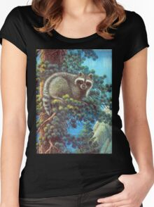 Treed Raccoon Lake Tahoe  Women's Fitted Scoop T-Shirt