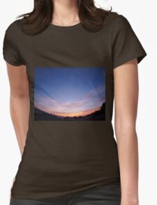 Skies with clouds over the city after sunset Womens Fitted T-Shirt