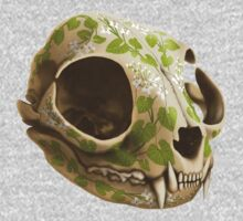 cat skull decorated with wasabi flowers One Piece - Long Sleeve
