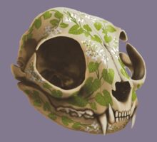 cat skull decorated with wasabi flowers Kids Tee