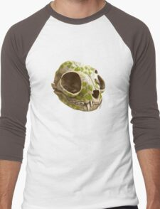 cat skull decorated with wasabi flowers Men's Baseball ¾ T-Shirt