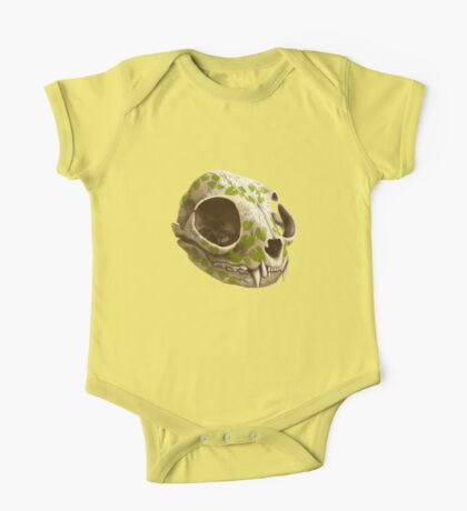 cat skull decorated with wasabi flowers One Piece - Short Sleeve