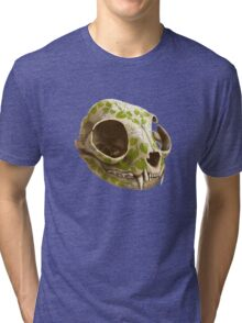 cat skull decorated with wasabi flowers Tri-blend T-Shirt
