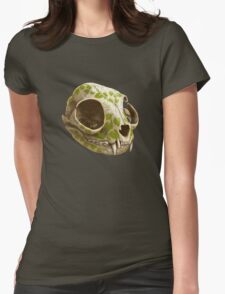cat skull decorated with wasabi flowers Womens Fitted T-Shirt