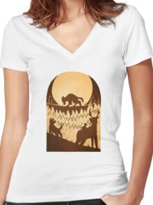 Full Moon in the Forbidden Forest Women's Fitted V-Neck T-Shirt