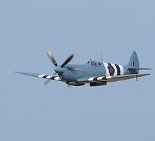 A blue Spitfire in Flight by johnny2sheds