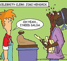 Celebrity Clerk: Jimi Hendrix. by Mike Spicer