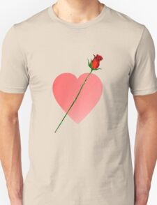 Pink Heart and Rose Unisex T-Shirt
