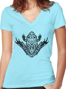 Tribal Leopard Frog Women's Fitted V-Neck T-Shirt