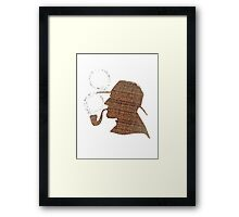 Sherlock Holmes Literary Quote Typography Man Cave Art Manique London Detective Brown Tweed Pattern Framed Print
