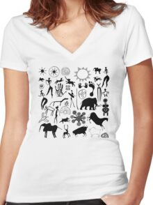 Cave paintings - primitive art Women's Fitted V-Neck T-Shirt