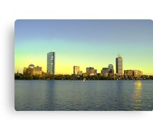 Boston Skyline from Cambridge at dusk in hdr Canvas Print