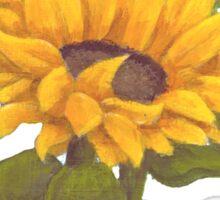 Sunflower II on Blue  Sticker