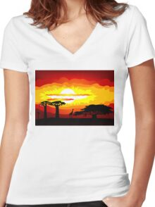 Africa sunset Women's Fitted V-Neck T-Shirt