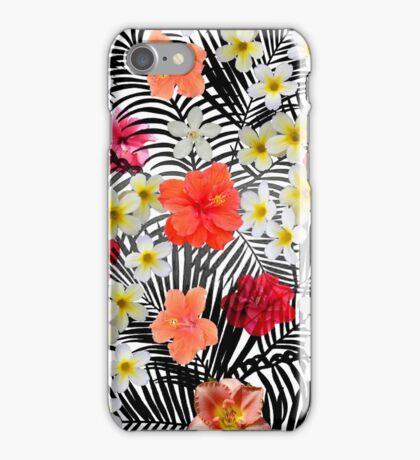 Red orange black palm tree tropical flowers iPhone Case/Skin