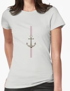 Trendy red blue black nautical jute anchor stripes Womens Fitted T-Shirt