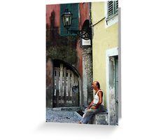 Afternoon in the piazza, Airole, Liguria, northern Italy Greeting Card