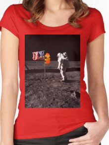 Super Mario On the Moon Women's Fitted Scoop T-Shirt
