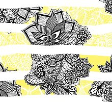 Modern black white floral lace bright yellow floor by GirlyTrend