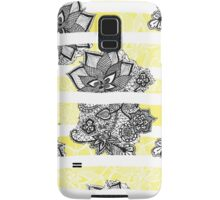 Modern black white floral lace bright yellow floor Samsung Galaxy Case/Skin