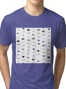 Funny fashion gold and black cute eyes pattern Tri-blend T-Shirt
