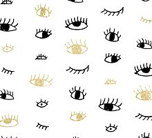 Funny fashion gold and black cute eyes pattern by GirlyTrend