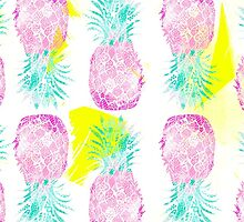Tropical pink mint green yellow pineapples pattern by GirlyTrend
