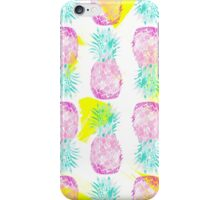 Tropical pink mint green yellow pineapples pattern iPhone Case/Skin