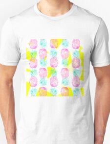 Tropical pink mint green yellow pineapples pattern T-Shirt