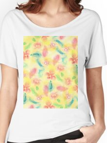 Summer pink yellow romantic floral watercolor Women's Relaxed Fit T-Shirt
