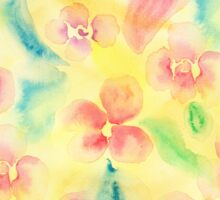 Summer pink yellow romantic floral watercolor Sticker