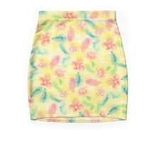 Summer pink yellow romantic floral watercolor Mini Skirt